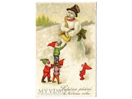 Krasnale Nowy Rok Bałwan muzykant pocztówka