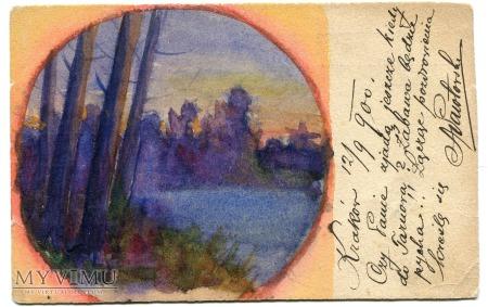 1900 Pocztówka Ręcznie Malowana Nowy Sącz