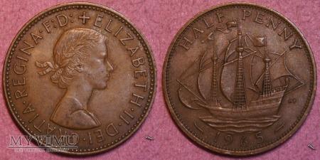 Wielka Brytania, half penny 1965