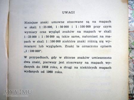 ZNAKI UMOWNE DLA MAP TOPOGRAFICZNYCH - 1961