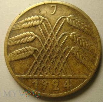 10 REICHSPFENNIG 1924 J, Republika Weimarska