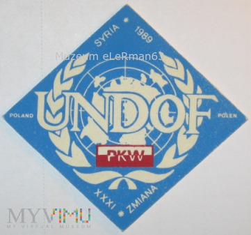PKW UNDOF XXXI zm. Syria 1989.