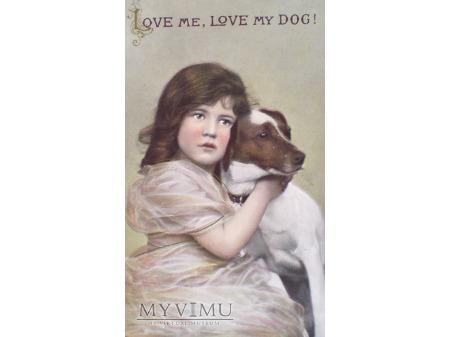 Dziewczynka z psem Kochaj mnie piesku POCZTÓWKA