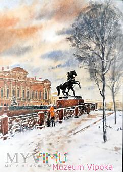 Para rzeźb koni (na filarach mostu Aniczkowa)
