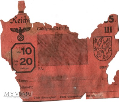 Reichsfleischkarte 65 1944