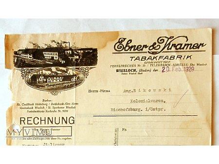 Rachunek Tabakfabrik Ebner & Kramer