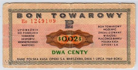 Bon Towarowy PeKaO - B12a - 2 Centy - 1969