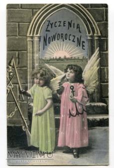 1909 Nowy Rok Anioły pocztówka polska