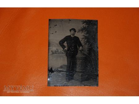 Ferrotyp - Pan w meloniku - lata 50 - 60 XIX wieku