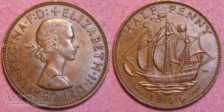 Wielka Brytania, half penny 1966