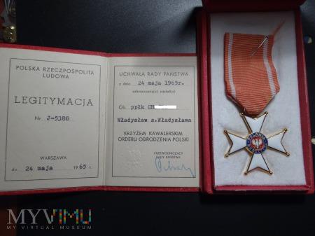 Legitymacja i Krzyż Kawalerski Orderu Odrodzenia