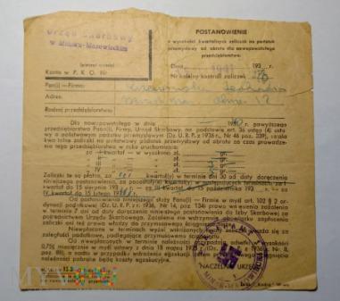 Postanowienie urząd skarbowy 1941 rok