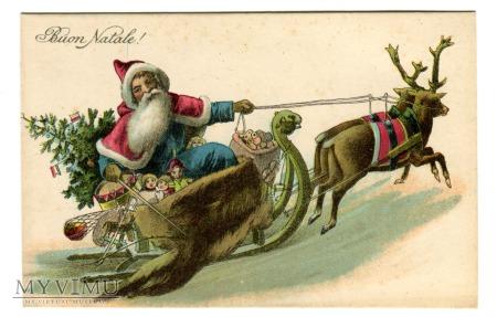 Duże zdjęcie c. 1905 Święty Mikołaj Babbo Natale all'italiana
