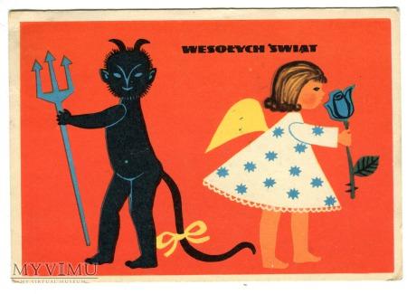 Duże zdjęcie 1962 Krampus Diabeł Anioł Pocztówka Świąteczna