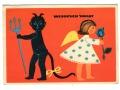 1962 Krampus Diabeł Anioł Pocztówka Świąteczna