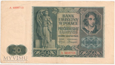 50 złotych 1 sierpnia 1941 rok seria A