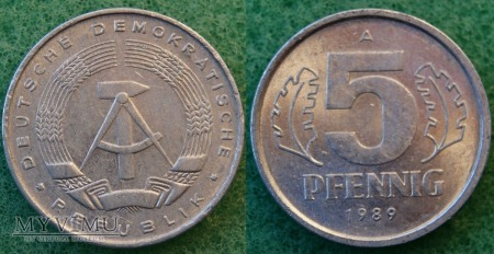 Niemcy, 5 Pfennig 1989