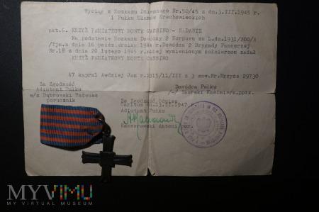 Wyciąg z rozkazu o nadaniu Krzyża Monte Cassino