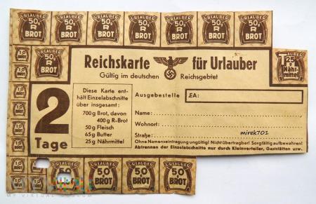Reichskarte für Urlauber Karta żywnościowa