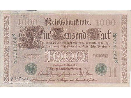 1 000 Reichsbanknote 21 kwiecień 1910 rok. (z)