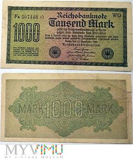Duże zdjęcie 1000 Mark, 1922 WD
