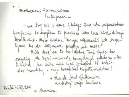 List Kard. Henryka Gulbinowicza