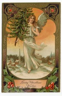 Anioł z choinką Wesołych Świąt Angel postcard