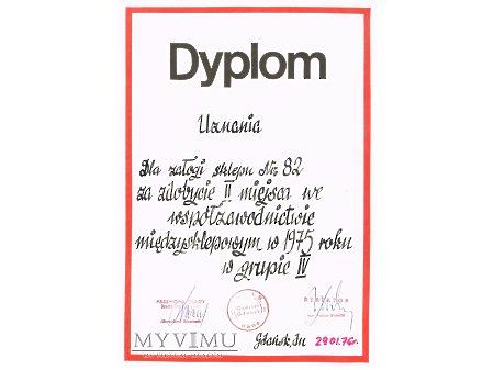 Duże zdjęcie Dyplom uznania - współzawodnictwo międzysklepowe