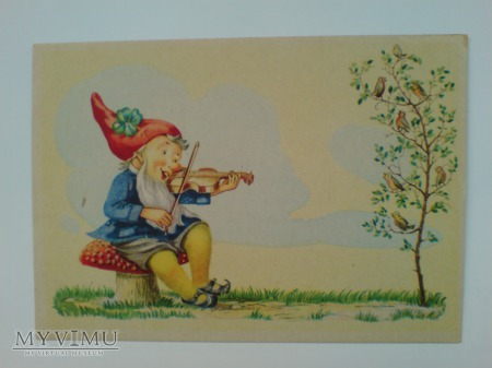 Fantasy Krasnal muzyk muchomor POCZTÓWKA