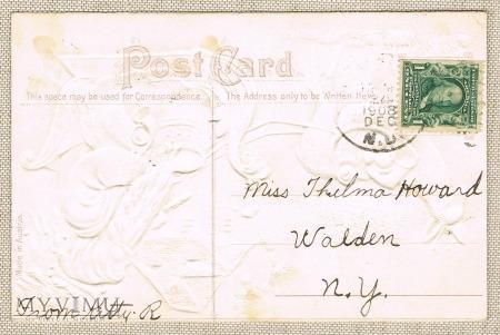 1908 Mikołaj sanie prezenty jelonek