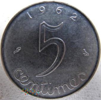 5 centymów 1962 r. Francja