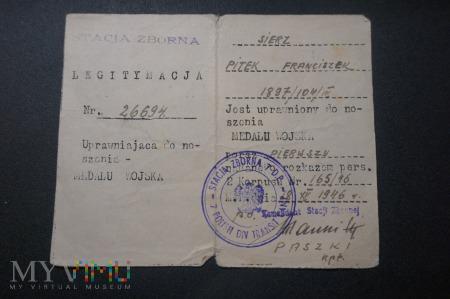Legitymacja Medalu Wojska - PSZnZ