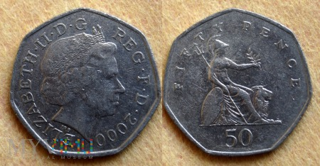Wielka Brytania, 50 pence 2000