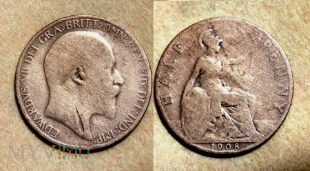 Wielka Brytania, half penny 1908