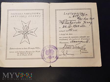 Legitymacja do odznaki 14 DAK wydana w 1934r.