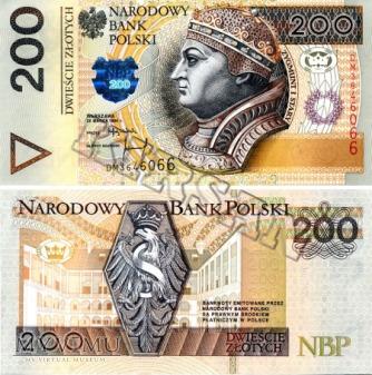 Banknot 200 zlotych 1994 r