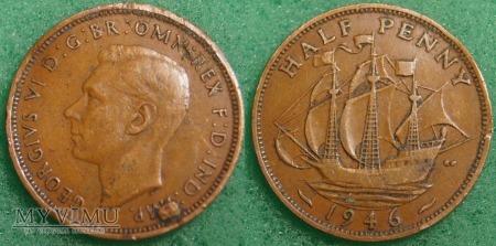 Wielka Brytania, half penny 1946 (destrukt)
