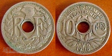 Francja, 10 Centimes 1918