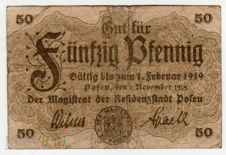 01.11.1918 - 50 Pfennig - Poznań