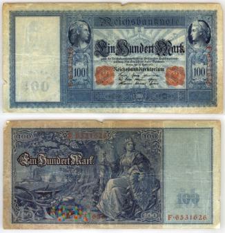 Niemcy, 100 marek 1910r. Ser.F