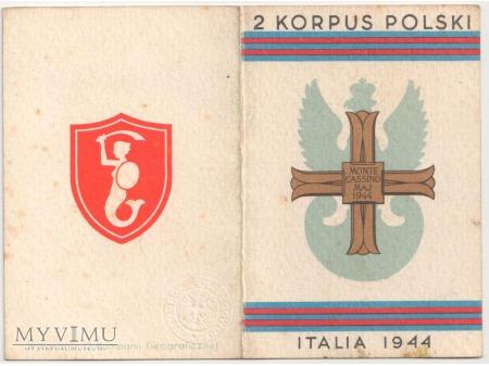 Duże zdjęcie Legitymacja Krzyża Pamiątkowego MONTE CASSINO