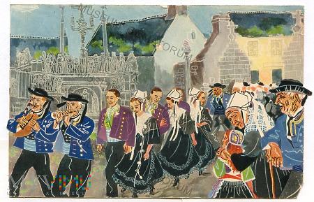 Bretoński orszak ślubny w Plougastel