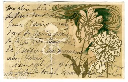 1903 Secesja Kobieta i kwiaty POCZTÓWKA kwiaty