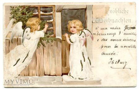 1901 Wesołych Świąt litografa ANIOŁ Litho angels