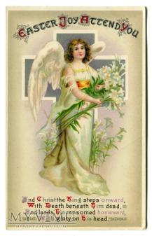 Anioł Krzyż WIELKANOC Chromolitografia