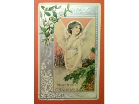 c. 1908 Anioł na Boże Narodzenie Święta USA LITHO
