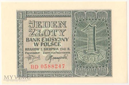 1 złoty 1 sierpnia 1941 rok seria BD
