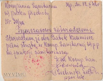 Zwolnienie-Kampania Sanitarna 19 pułku piechoty