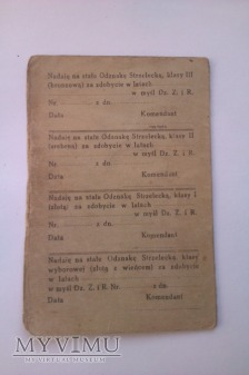 Legitymacja Odznaki strzeleckiej 65p.p.