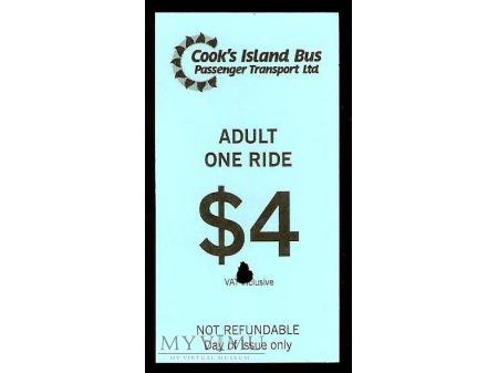 Bilet autobusowy z Wysp Cooka.